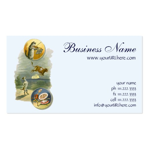 Vintage Hey Diddle Diddle, Cat, Fiddle, Cow, Moon Business Cards