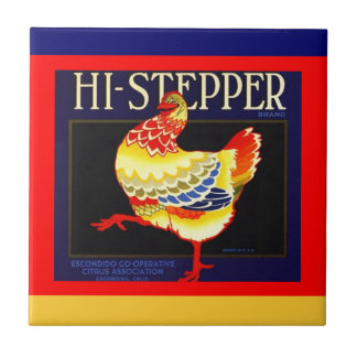 Vintage Hi-stepper Citrus Chicken crate label Tile