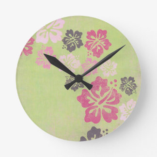 Vintage Hibiscus Clock