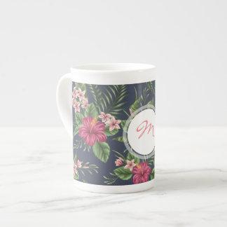 Vintage Hibiscus dark pattern Monogram Bone Mug