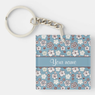 Vintage Hibiscus Flowers Pattern Double-Sided Square Acrylic Keychain