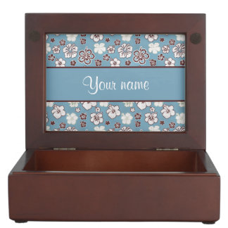Vintage Hibiscus Flowers Pattern Keepsake Boxes