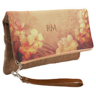 Vintage Hibiscus Flowers with/without Initials Clutch