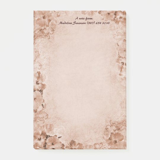 Vintage Hibiscus Post-it-Notes (customizable) Post-it® Notes