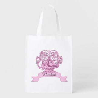 Vintage high tea PERSONALIZE name Reusable Grocery Bag