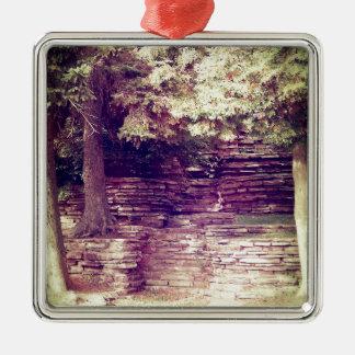 Vintage Hillside Stoneworks Silver-Colored Square Ornament