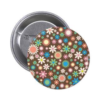 Vintage, hippie pink, green, salmon red daisies 2 inch round button