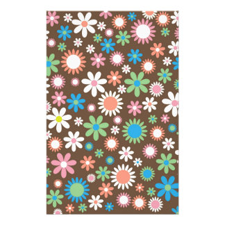 Vintage, hippie pink, green, salmon red daisies stationery