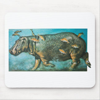 Vintage Hippo Illustration In The Water Mouse Pad