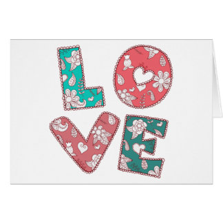 Vintage Hippy Love Green & Pink, Red Floral Card