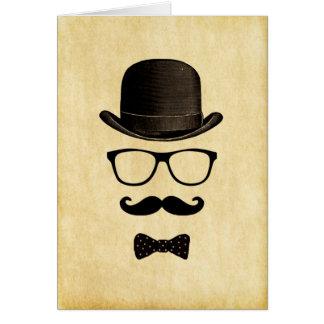 Vintage/Hipster Moustache Man Greeting Card