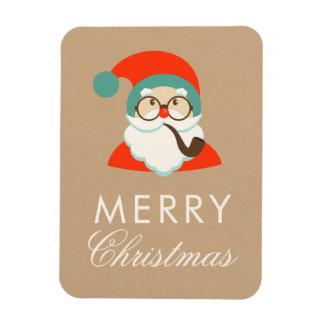 Vintage Hipster Santa Christmas Party Magnet