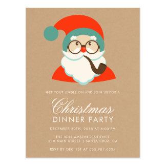 Vintage Hipster Santa Christmas Party Postcard