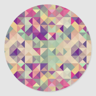 Vintage Hipsters Geometric Pattern. Classic Round Sticker
