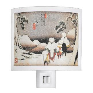 Vintage Hiroshige Japan Snow Art Print Night Light