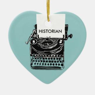 Vintage Historian Retro Typewriter Illustration Ceramic Heart Ornament