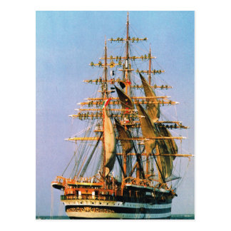 Vintage historic ships, Amerigo Vespucci, Italian Postcard