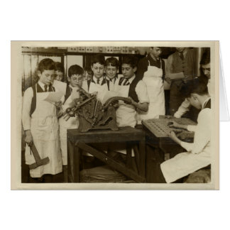 Vintage historical photo of boys with letterpress card