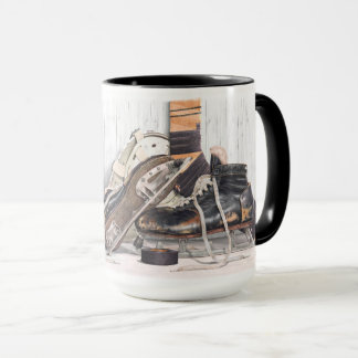 Vintage Hockey Goalie Skates Mask Large Coffee Mug
