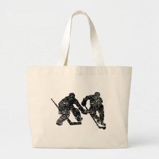 Vintage Hockey Players Large Tote Bag