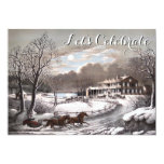 "Vintage Holiday Currier & Ives Christmas Party 5"" X 7"" Invitation Card"