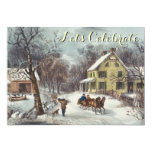 """Vintage Holiday Currier & Ives Christmas Party 5"""" X 7"""" Invitation Card"""