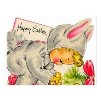 Vintage Holiday Easter Bunny kid postcard