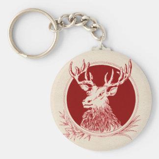 Vintage Holiday Elk Print Keychain
