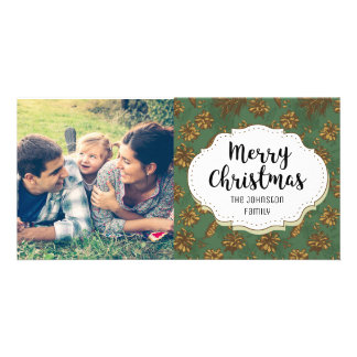 Vintage Holiday Pine Cones Christmas Photo Card