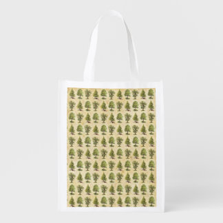 Vintage Holiday Trees Pattern Reusable Grocery Bag