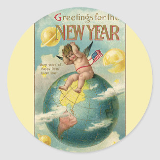 Vintage Holidays, Greetings for the New Year Round Sticker