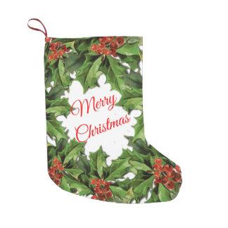 Vintage Holly Christmas Stocking