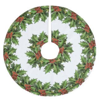 Vintage Holly Christmas Tree Skirt