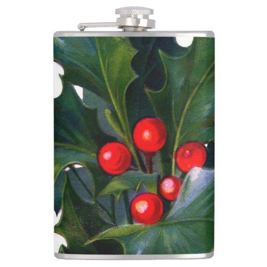 Vintage Holly Leaf Berry Hip Flask