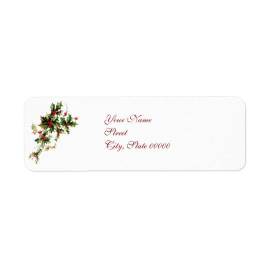 Vintage Holly Leaves & Berries Christmas label Return Address Label
