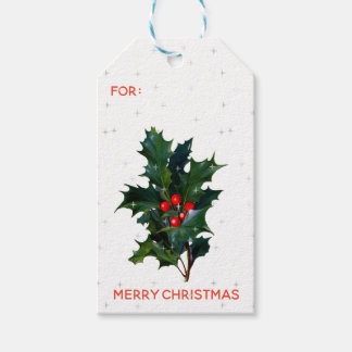 Vintage Holly Red Green Berries Stars Christmas Gift Tags