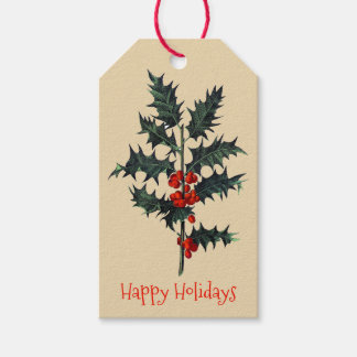 Vintage Holly Sprig Happy Holidays Gift Tags
