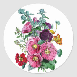 Vintage Hollyhock Blooms Classic Round Sticker
