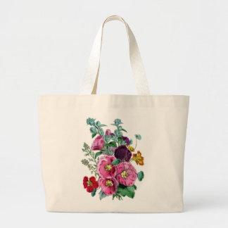 Vintage Hollyhock Blooms Large Tote Bag
