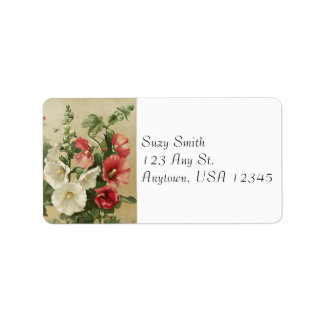 Vintage Hollyhocks Address Labels