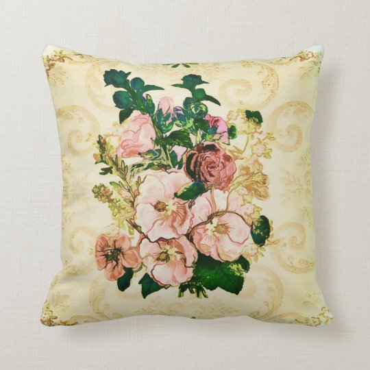 Vintage Hollyhocks Throw Pillow