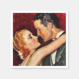 Vintage Hollywood Glamorous Couple - Red Paper Napkin