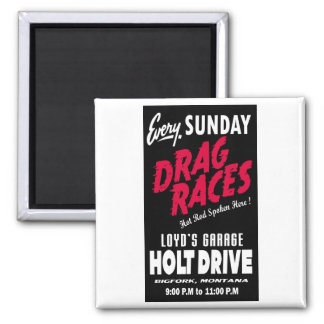 Vintage Holt Drive Drag Races sign Square Magnet