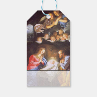 Vintage Holy Family Nativity With Angels Christmas Gift Tags