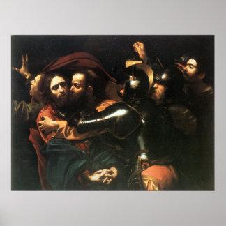 Vintage Holy Jesus christ, Judas kiss, painting Poster