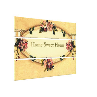 Vintage Home Sweet Home Small Stretched Canvas Canvas Prints
