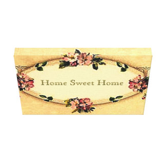 Vintage Home Sweet Home Small Stretched Canvas Canvas Print