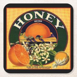 Vintage honey company advertisement coaster