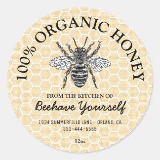 Vintage Honeycomb Honeybee Honey Round Sticker