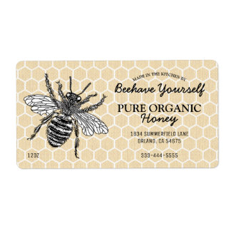 Vintage Honeycomb Honeybee Honey Shipping Label